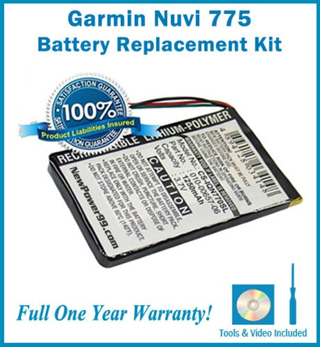 Garmin Nuvi 775 Battery Replacement Kit with Tools, Video Instructions and Extended Life Battery - NewPower99 USA