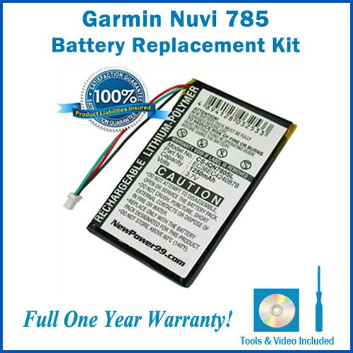 Garmin Nuvi 785 Battery Replacement Kit with Tools, Video Instructions and Extended Life Battery - NewPower99 USA