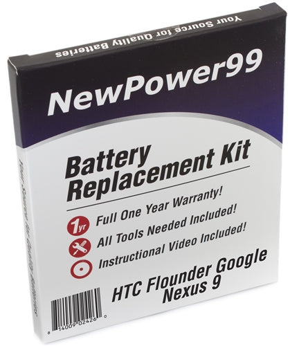 HTC Flounder Google Nexus 9 Battery Replacement Kit with Tools, Video Instructions and Extended Life Battery - NewPower99 USA