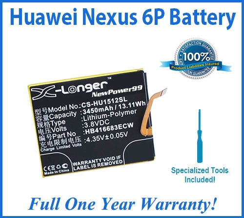 Huawei Nexus 6P Battery Replacement Kit with Special Installation Tools, Extended Life Battery and Full One Year Warranty - NewPower99 USA