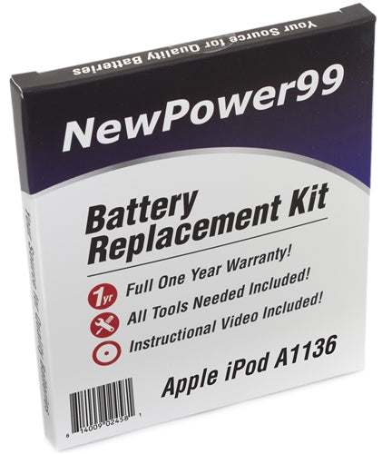 Apple iPod A1136 Battery Replacement Kit with Tools, Video Instructions and Extended Life Battery - NewPower99 USA