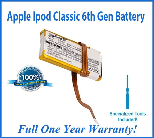 Apple iPod Classic 6th Generation Battery Replacement Kit with Special Installation Tools, Extended Life Battery and Full One Year Warranty - NewPower99 USA