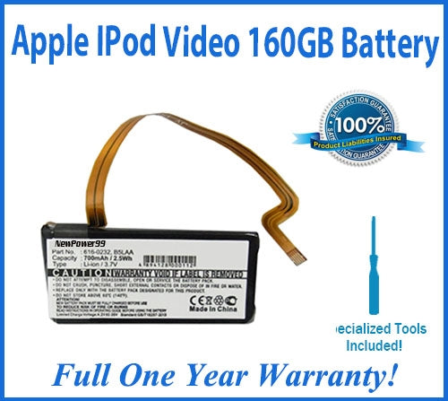 Apple iPod Video 160GB Battery Replacement Kit with Special Installation Tools and Extended Life Battery and Full One Year Warranty - NewPower99 USA