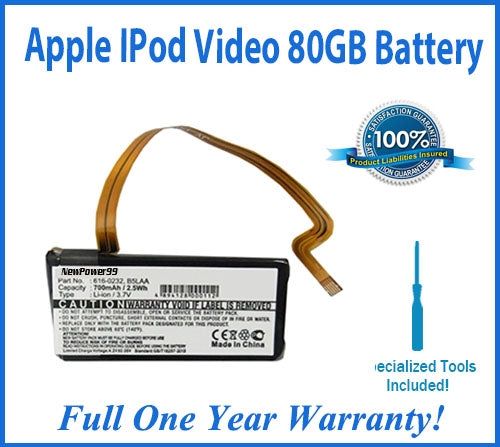 Apple iPod Video 80 GB Battery Replacement Kit with Special Installation Tools and Extended Life Battery and Full One Year Warranty - NewPower99 USA