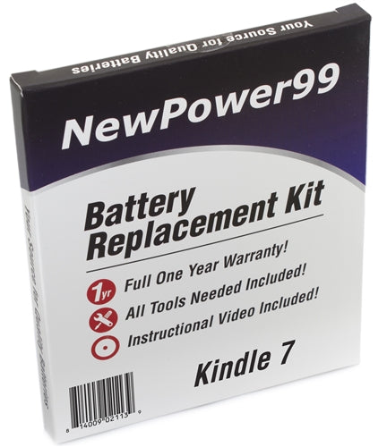 Kindle 7 Battery Replacement Kit with Tools, Video Instructions and Extended Life Battery - NewPower99 USA