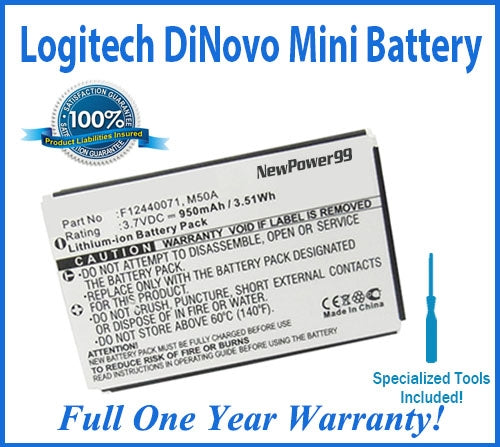 Logitech diNovo Mini Wireless Keyboard Battery Replacement Kit with Special Installation Tools and One Year Money Back Guarantee - NewPower99 USA