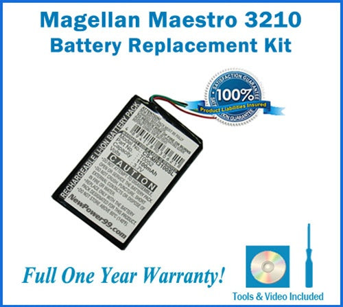 Magellan Maestro 3210 Battery Replacement Kit with Tools, Video Instructions and Extended Life Battery - NewPower99 USA