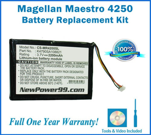 Magellan Maestro 4250 Battery Replacement Kit with Tools, Video Instructions and Extended Life Battery - NewPower99 USA