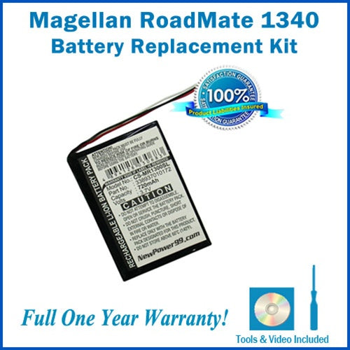 Magellan Roadmate 1340 Battery Replacement Kit with Tools, Video Instructions and Extended Life Battery - NewPower99 USA