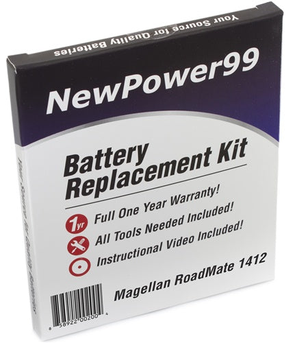 Magellan Roadmate 1412 Battery Replacement Kit with Tools, Video Instructions and Extended Life Battery - NewPower99 USA