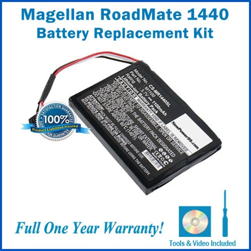 Magellan RoadMate 1440 Battery Replacement Kit with Tools, Video Instructions and Extended Life Battery - NewPower99 USA