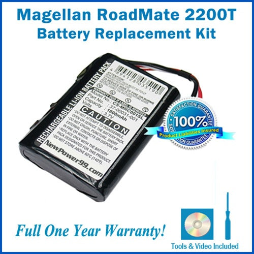 Magellan Roadmate 2200T Battery Replacement Kit with Tools, Video Instructions and Extended Life Battery - NewPower99 USA