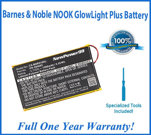 Barnes & Noble NOOK GlowLight Plus Battery Replacement Kit with Special Installation Tools, Extended Life Battery & Full One Year Warranty - NewPower99 USA