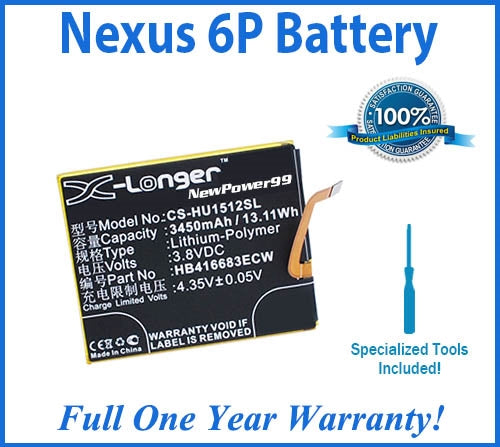 Nexus 6P Battery Replacement Kit with Special Installation Tools, Extended Life Battery and Full One Year Warranty - NewPower99 USA