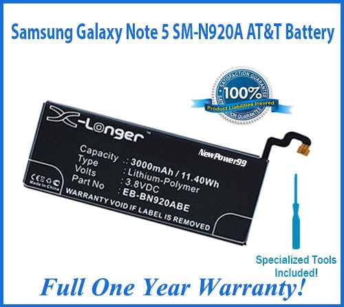 Samsung Galaxy Note 5 SM-N920A AT&T Battery Replacement Kit with Special Installation Tools, Extended Life Battery and Full One Year Warranty - NewPower99 USA