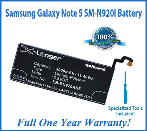 Samsung Galaxy Note 5 SM-N920I Battery Replacement Kit with Special Installation Tools, Extended Life Battery and Full One Year Warranty - NewPower99 USA