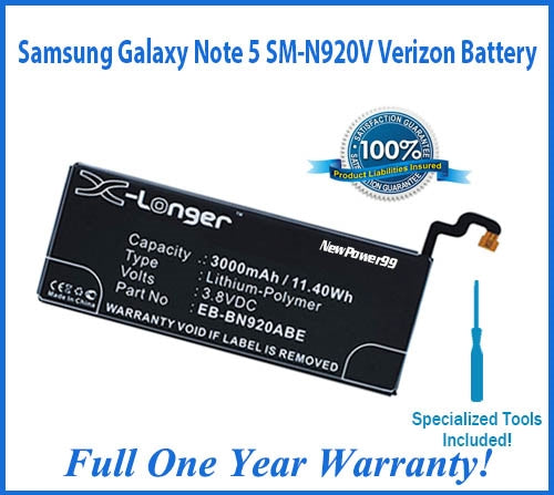 Samsung Galaxy Note 5 SM-N920V Verizon Battery Replacement Kit with Special Installation Tools, Extended Life Battery and Full One Year Warranty - NewPower99 USA