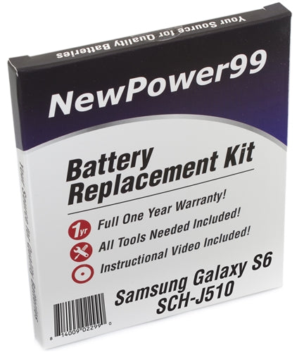 Samsung Galaxy S6 SCH-J510 Battery Replacement Kit with Tools, Video Instructions and Extended Life Battery - NewPower99 USA