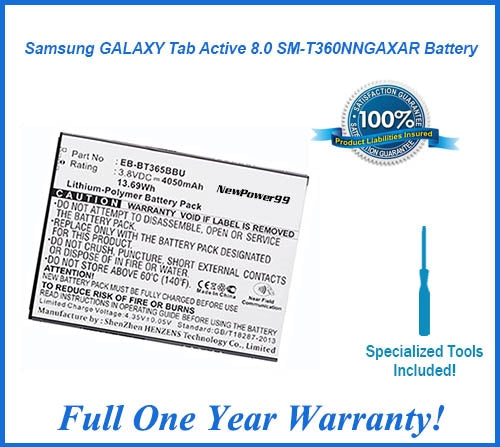 Samsung GALAXY Tab Active  8.0 SM-T360NNGAXAR Battery Replacement Kit with Video Instructions, Tools, Extended Life Battery and Full One Year Warranty - NewPower99 USA