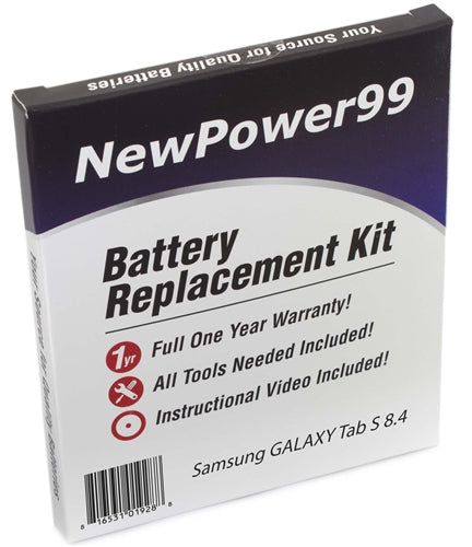 Samsung GALAXY Tab S 8.4 Battery Replacement Kit with Video Instructions, Tools, Extended Life Battery and Full One Year Warranty - NewPower99 USA