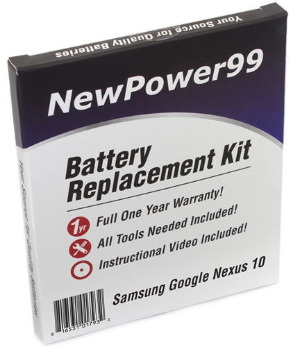 Samsung Google Nexus 10 Battery Replacement Kit with Tools, Video Instructions and Extended Life Battery - NewPower99 USA