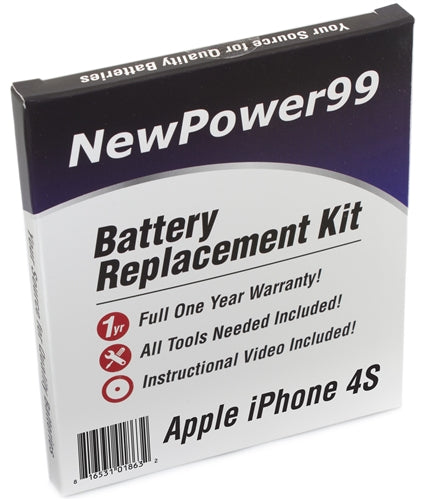 Apple iPhone 4S Battery Replacement Kit with Tools, Video Instructions and Extended Life Battery - NewPower99 USA