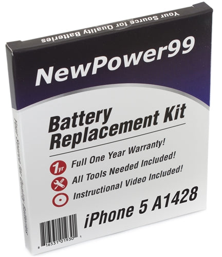 Apple iPhone 5 A1428 Battery Replacement Kit with Tools, Video Instructions and Extended Life Battery - NewPower99 USA