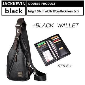 JackKevin Mens Chest Bags Fashion  Man Messenger Bag Theftproof Rotatable Button Open Travel Crossbody Bag Man Waist Pack