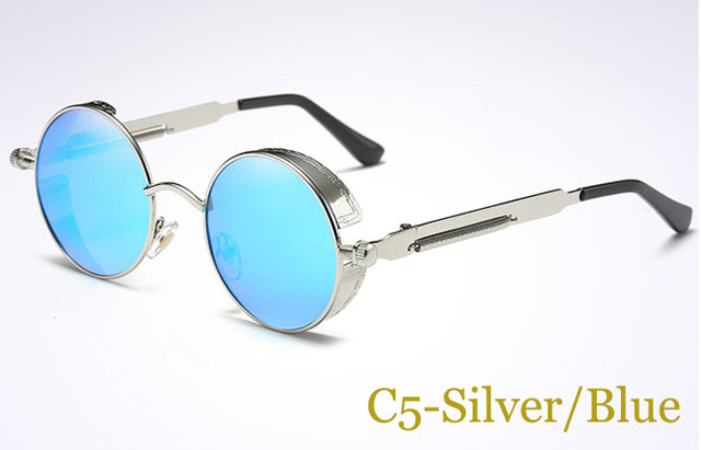 LVVKEE Brand Gothic Steampunk Sunglasses Polarized Men Women Round Metal Carving Sun Glasses Coating Mirrored Glasses For Male