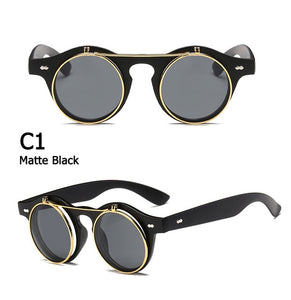 JackJad 2018 Fashion Vintage Round SteamPunk Flip Up Sunglasses Classic Double Layer Clamshell Design Sun Glasses Oculos De Sol