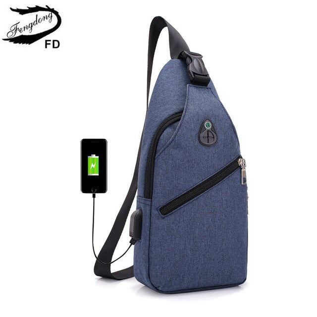 FengDong casual crossbody bags for men boy small sling shoulder chest bag waterproof usb charge messenger bag with earphone jack