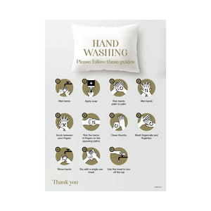 Hotel Hand Washing Instructions Removable Wall Sticker