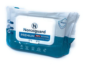 Norcoguard Premium Disinfecting Alcohol Wipes. 80 wipes per pack.