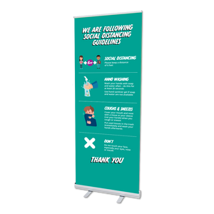 Retractable Social Distancing Pull Up Banner Stand (With Distance Measure)