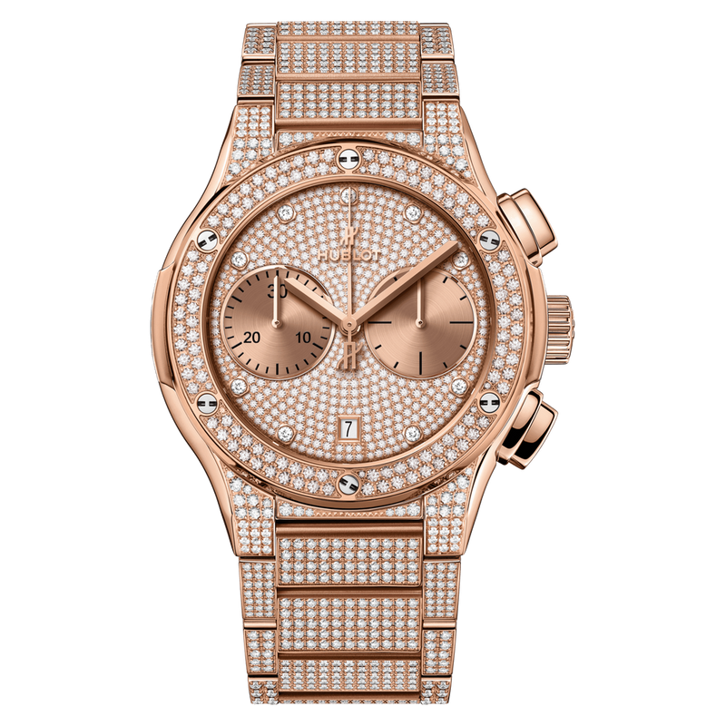 Chronograph King Gold Full Pavé Bracelet
