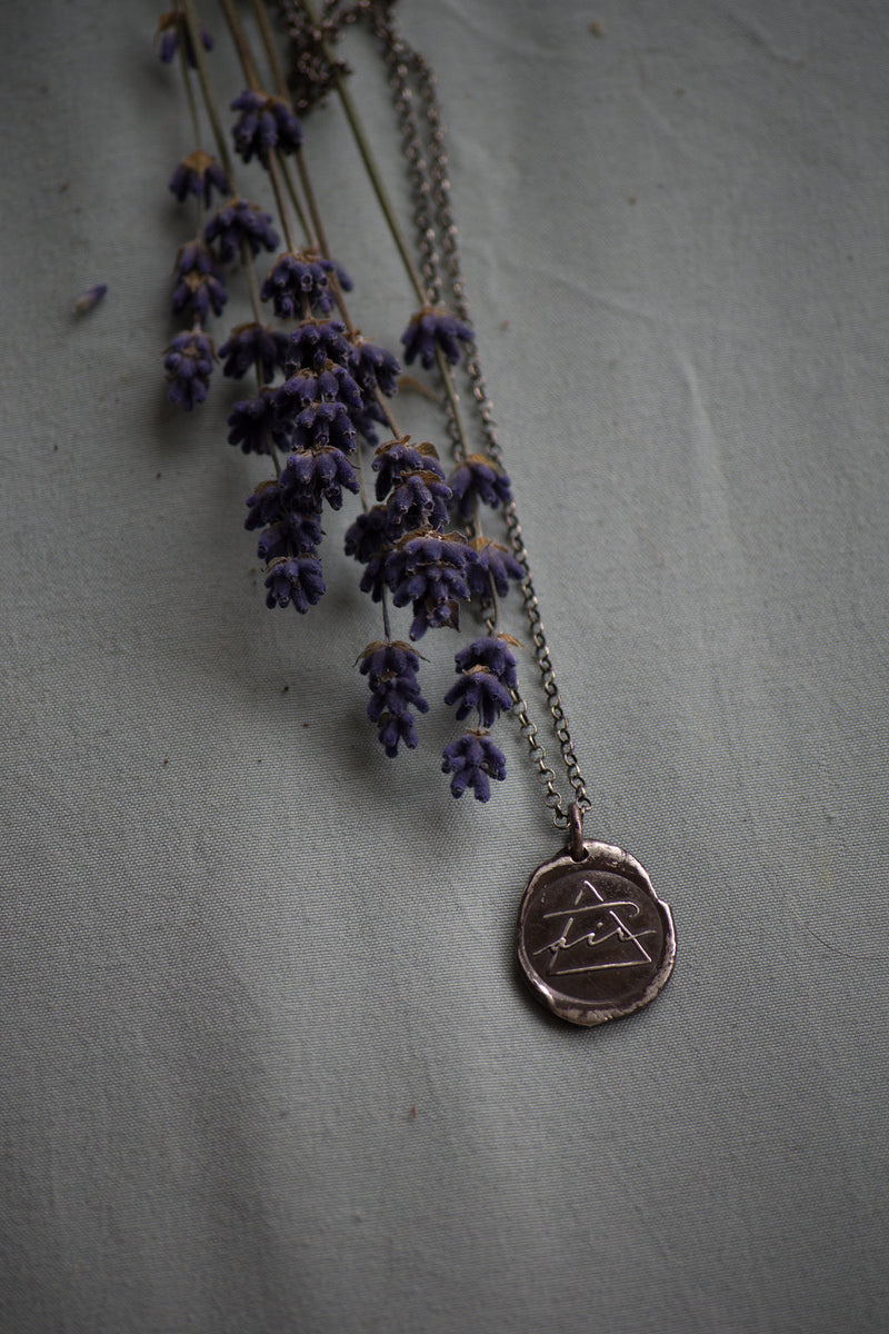 air sign silver necklace with lavender sprig