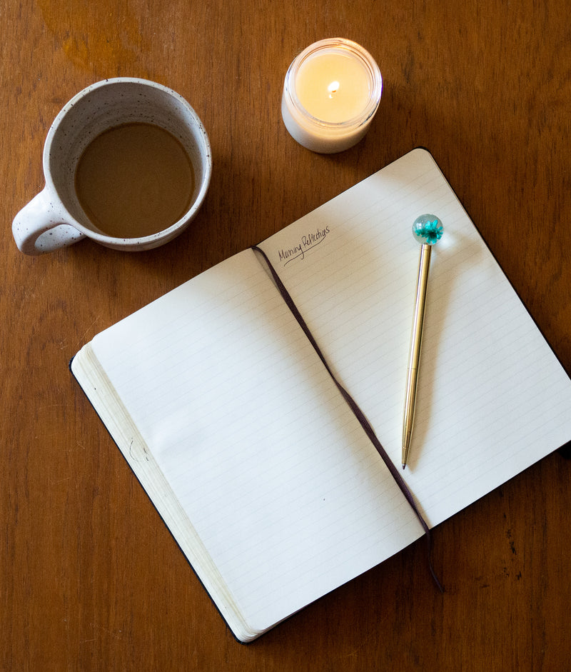 candle, coffee, and journal
