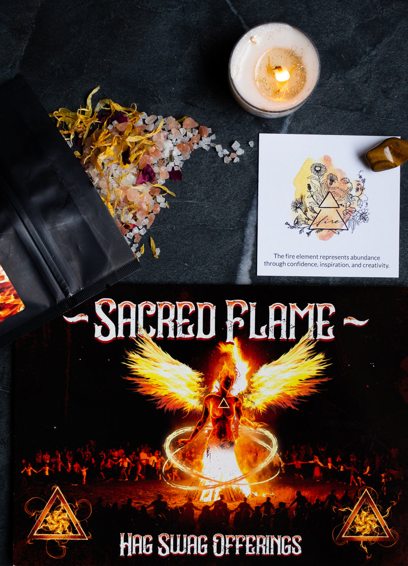 fire element intention candle and bath soak for hag swag sacred flame subscription box