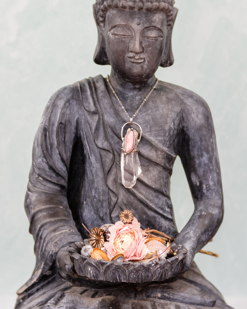 kuan yin crystal talisman pendant on buddha by laura farrell