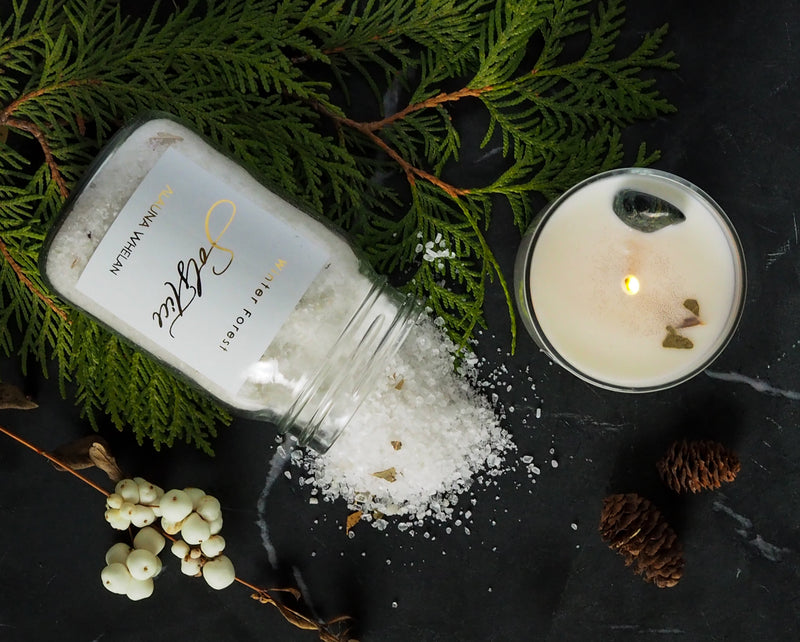 winter solstice bath salts and ritual candle