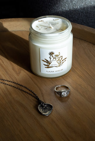 air sign candle silver necklace and ring