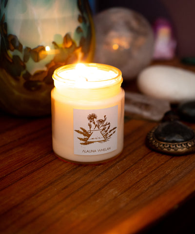 air sign element intention candle on wooden tray with crystals