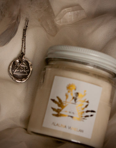air sign silver necklace and air element soy intention candle