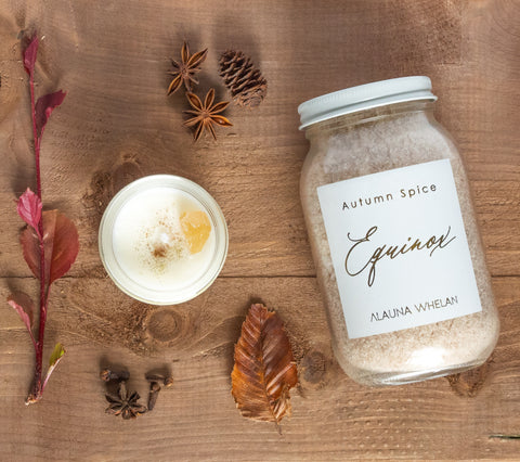 fall autumn equinox candle and bath soak set