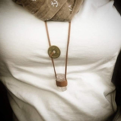 chunky leather and quartz necklace with scarf
