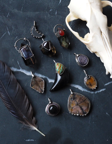 dark goddess raw crystal talisman necklaces