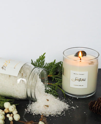winter evergreen scented soy candle and bath salt