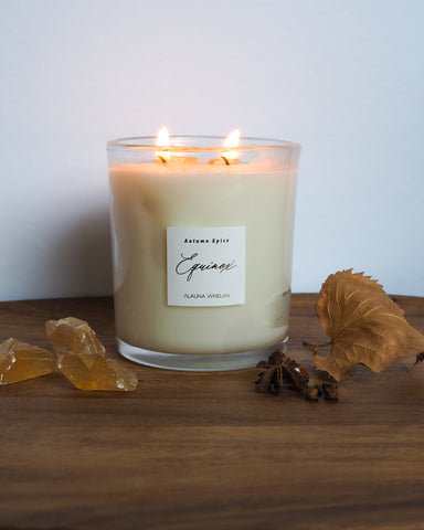 fall spice soy equinox candle with foliage and crystals