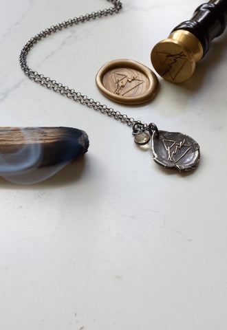 fire sign silver wax seal necklace