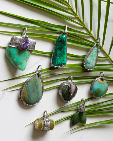 green and turquoise raw crystal talisman necklaces